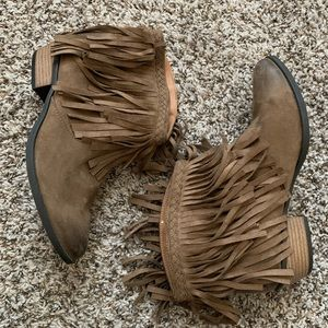 Alter'd State Women Taupe Vintage Fringe Booties